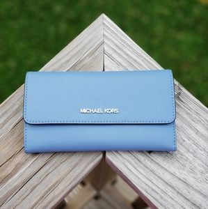 Michael Kors Jet Set LG Tri Fold Wallet Blue